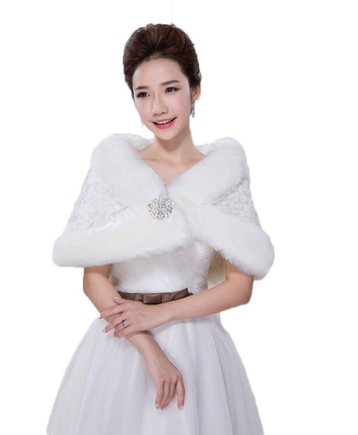 Warm Winter Autumn Warm Bridal Shawl with Diamond Faux Fur Women Bolero Bridal Wraps for Bridal Gowns faux fur stoles