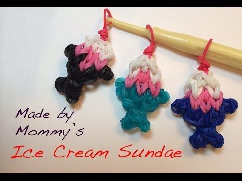 ICE CREAM SUNDAE Charm on the Rainbow Loom. Designed and loomed by Made By Mommy. Click photo for YouTube tutorial.