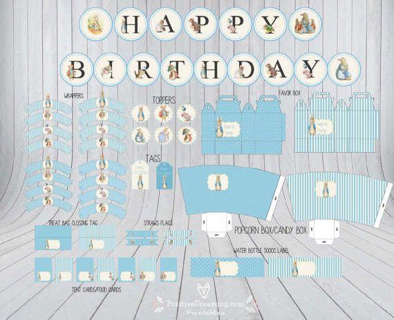Peter Rabbit Editable para imprimir cumpleaños partido Banner
