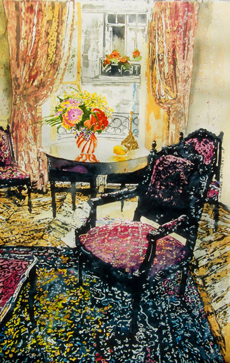 "parisian interior with red chair 22"" x 14""  micheal zarowsky / watercolour on arches paper / available $600.00"