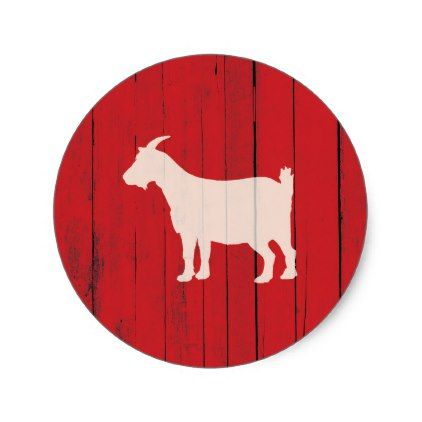 Rustic Farmhouse Goat Red Wood Panel Classic Round Sticker - christmas craft supplies cyo merry xmas santa claus family holidays
