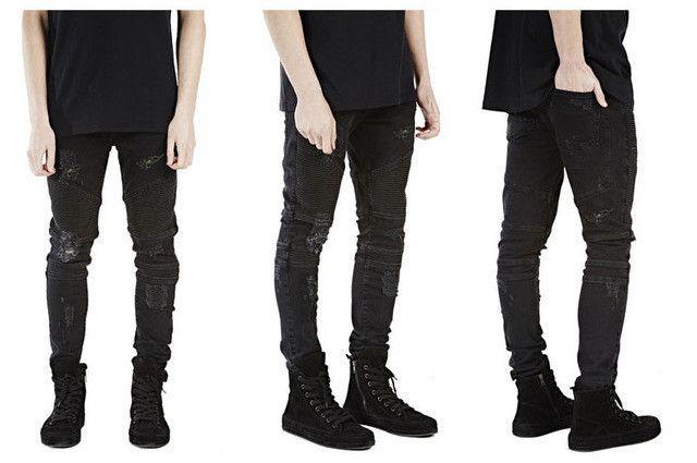 Casual Denim distressed Men's Slim Jeans pants