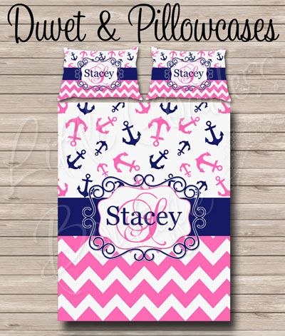 Chevron Anchor Navy Hot Pink | Duvet Covers and Bed Comforter Sets