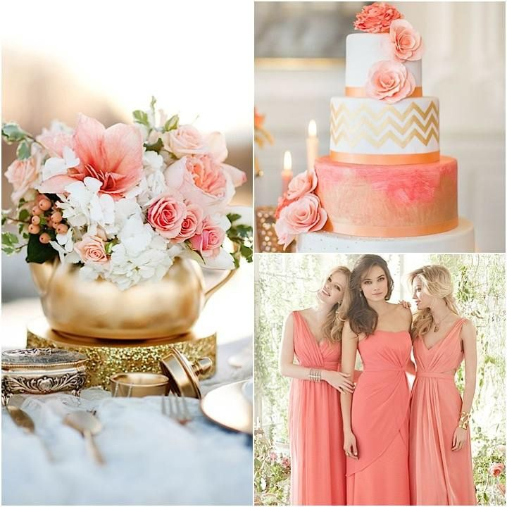 Good Color Inspiration: Perfect Coral And Gold Wedding Ideas   MODwedding