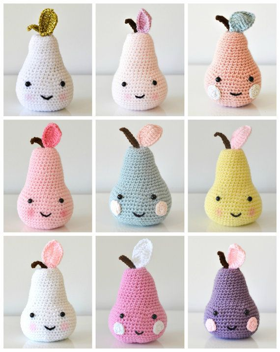 Knitted pear shaped pillows .