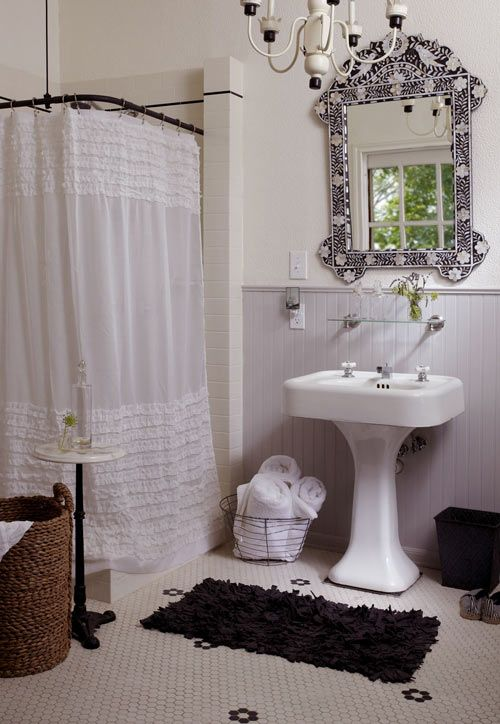 Vintage Tile Bath Chandelier Beadboard