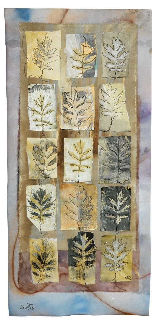 """""""Breathe"""" 15"""" x 32"""" Leaf prints on a variety of painted papers; mounted on hand-painted silk noil, dyed silk organza, and painted stabilizer. Wen Redmond"""