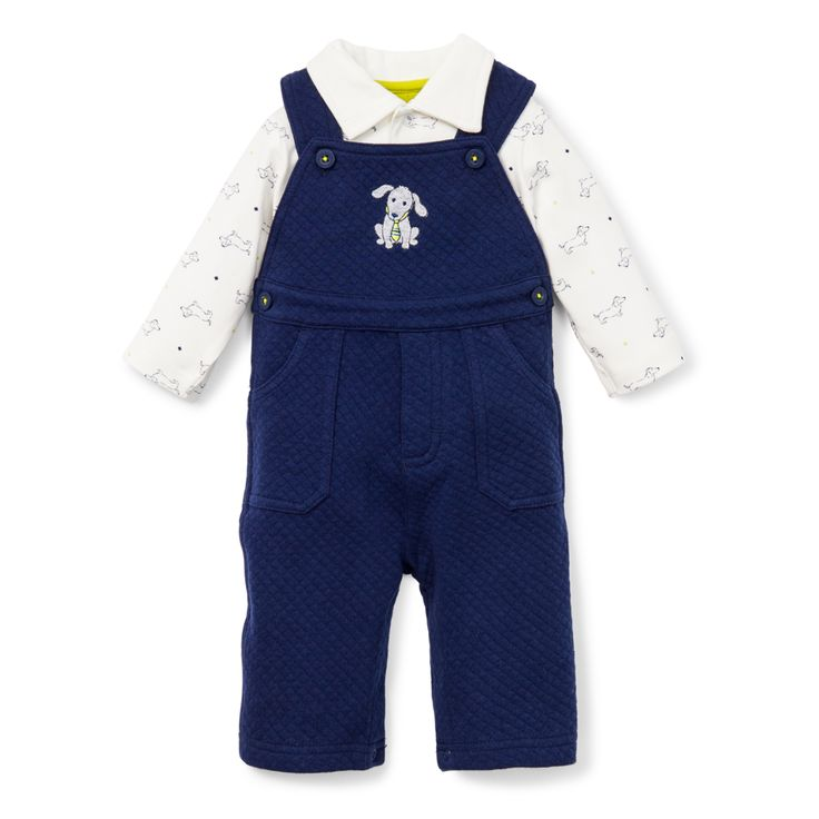 Dashing Dachshund Overall, with collared top for baby boy size 3 months to 9 months.