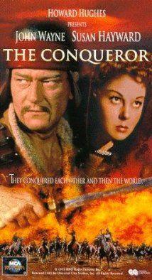 THE CONQUERER (1956) - John Wayne as 'Genghis Khan' with Susan Hayward - Filmed in Utah - Directed by Dick Powell - RKO-Radio - VHS cover art.