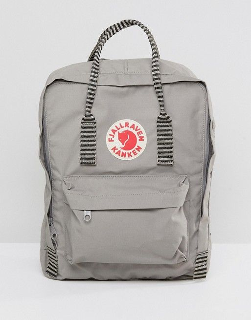 95197cecc Fjallraven | Fjallraven Kanken in Fog Gray with Contrast Stripe Top Handle  and Straps