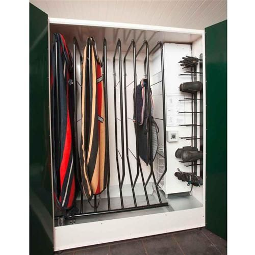 If you have some cash burning a hole in your bank account, this blanket drying closet is an awesome way to go! Each rack swivels down into a horizontal position for easy blanket hanging. Also features small racks to hang your boots and gloves, etc. Find out why you need a blanket dryer like this at your barn: http://barngenius.com/discover/products/how-a-blanket-dryer-can-change-your-life
