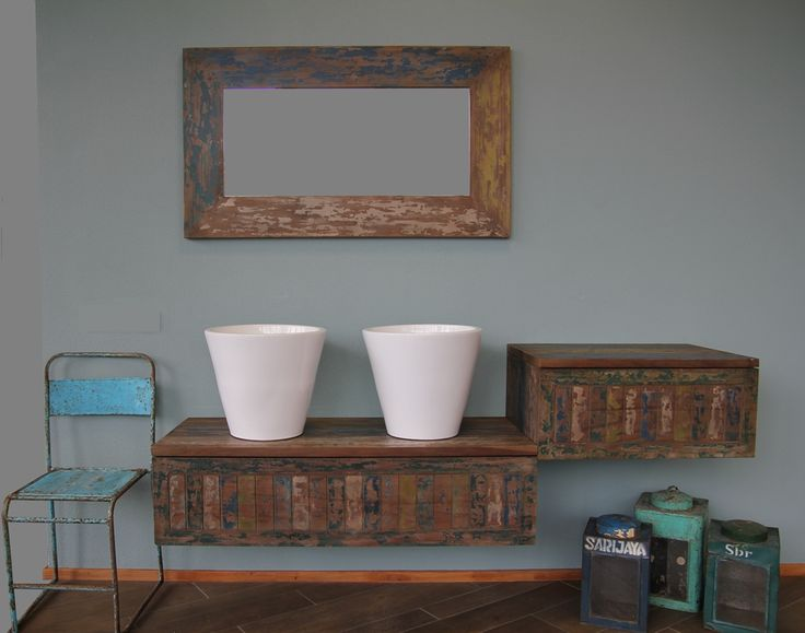 Badkamermeubel oud scheepshout ieder vintage exemplaar is uniek badkamer idee n pinterest - Vintage badkamer ...