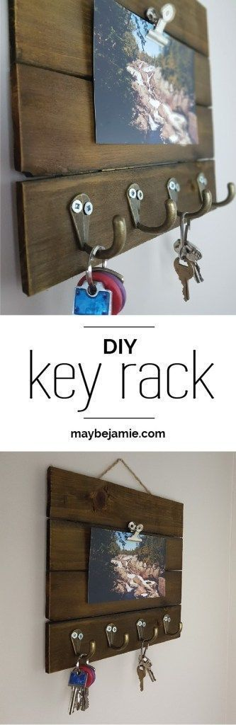 This super easy and simple DIY key rack will add some nice decor to your home, as well as make a cute place to store your keys. With just a few supplies, this DIY can be done in about five minutes!