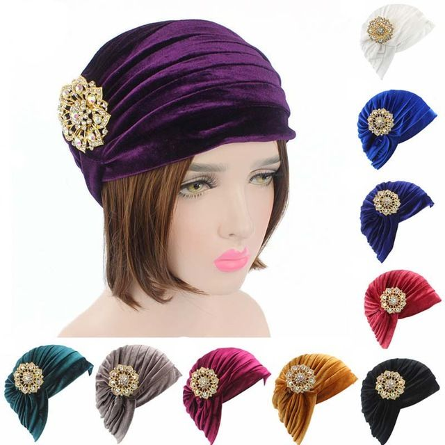Promotion price New Luxury Woman Velvet Turban Twist Pleated Hair Wrap Beanie Hat with Gold Jewelry Brooch Hijab Turbante just only $5.88 with free shipping worldwide  #womanaccessories Plese click on picture to see our special price for you