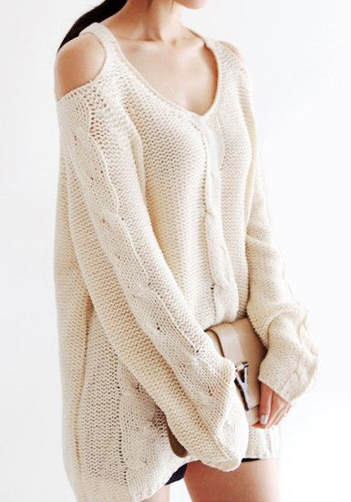 Shoulder Cut Out Sweater - Ivory @LookBookStore