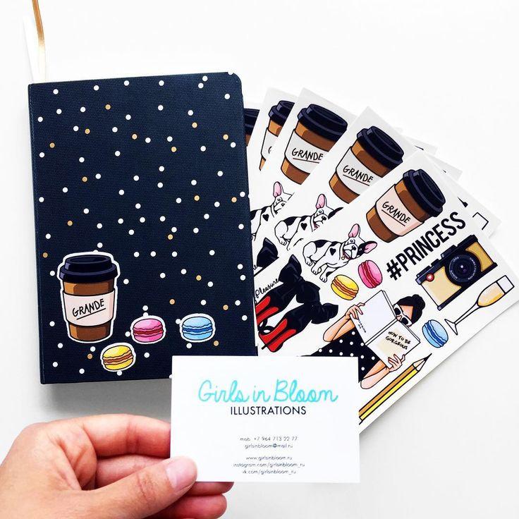 Наклейки для ваших ежедневников, ноутбуков, тетрадок - прячутся в каждом заказе на www.girlsinbloom.ru 😄✏️🎨 #girlsinbloom #подарки #лето #иллюстрация #подароквкаждомзаказе