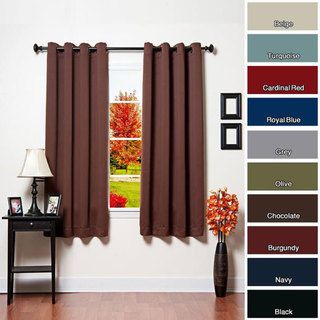 @Overstock.com - Grommet Top Thermal Insulated Blackout 64-inch Curtain Pair - This blackout curtain pair keeps sunlight and prying eyes out. It blocks nearly all outside light, so you can hang it whenever you need to maintain full privacy or sleep late. It is available in a wide range of colors to match any decor. http://www.overstock.com/Home-Garden/Grommet-Top-Thermal-Insulated-Blackout-64-inch-Curtain-Pair/5157106/product.html?CID=214117 $57.82