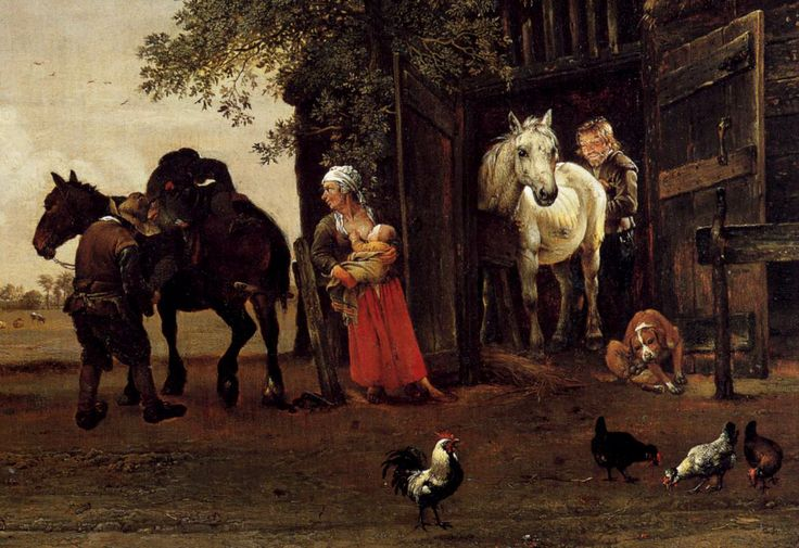 Paulus Potter | File:Paulus Potter - Figures with Horses by a Stable (detail ...