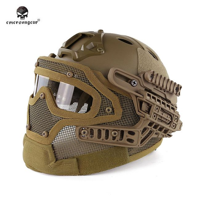 Emersongear BD9197 G4 System/Set PJ Helm mit Umfassenden Schutz Glas Maske Militär Paintball Jagd Helm mit Schutzbrille