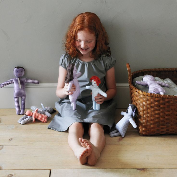 Gingham Doll Family How-To: It's easy to customize these guys and girls to resemble the kids and adults in your life.
