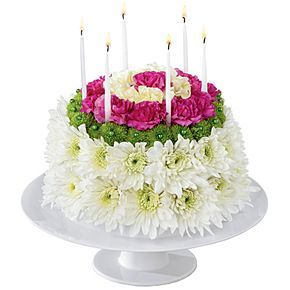 birthday cake floral arrangement | Flower birthday cake with white and pink flowers for delivery