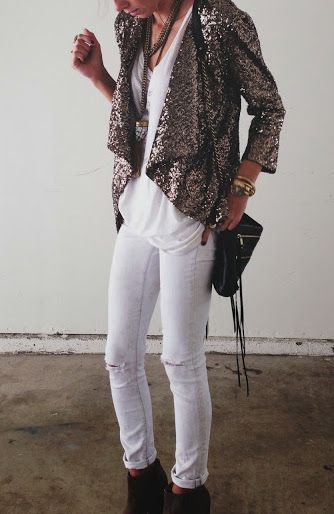 White denim + sequin blazers.