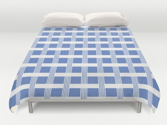 Custom Color Duvet, White Blue Comforter, King Queen Full Twin, Size, Bed Cover, Plaid Bedding, Duvet Cover, Checkered Duvet, Plaid Duvet