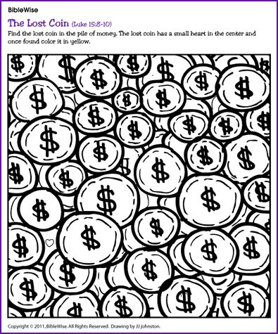 A Puzzle For Young Children Find The Lost Coin In Pile Of Money Has Heart Center