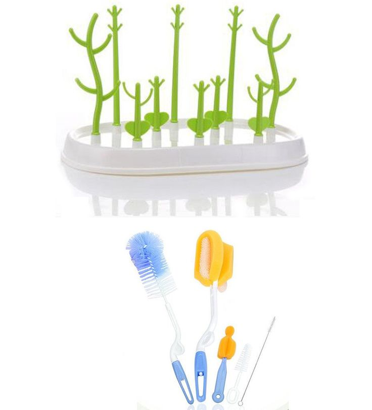 Baby Feeding Bottle Dry Bottle Drying Rack Tree with Brush Set of 6. 12.12 * 7.48inch. Material: base: ABS,pegs: PP. Accessory drying rack,Keep bottles clean, organized. For bottles, nipples, cups, pump parts and accessories. 7-12 Business Days Delivery time.Each Parcel Goes with Small Gift.