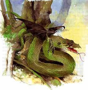 El Cuelebre es una serpiente gigantesca que custodia tesoros o a les xanes. Como son inmortales, con el pasar de los siglos las escamas se le vuelven tremendamente gruesas e impenetrables, y le salen alas de murciélago. No se suele mover mucho del sitio que custodia, cuando lo hacen es para comer ganado o a hombres.