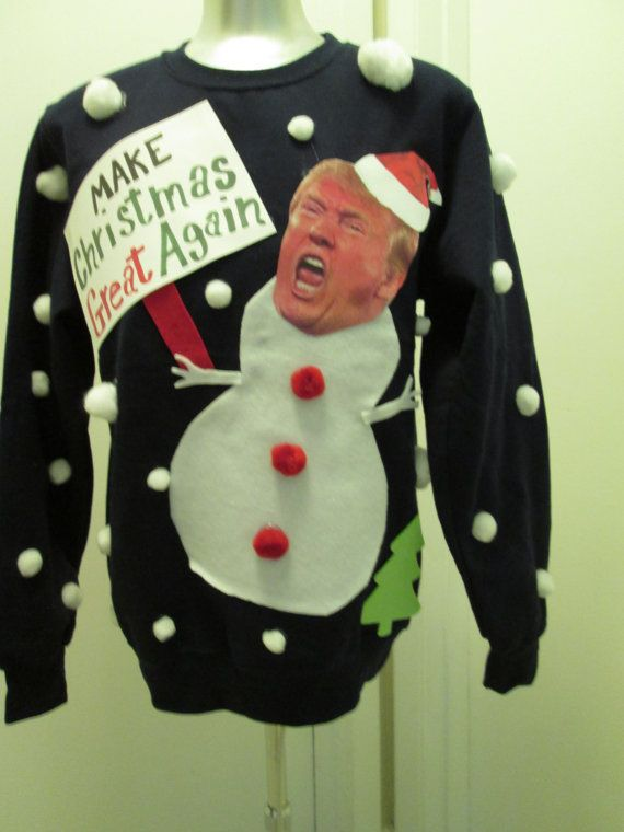 MY HOPE IS THAT DONALD NOT ONLY SAVES CHRISTMAS BUT AMERICA AS WELL !!  MADE UPON A BRAND NEW MENS SIZED SWEATSHIRT. THIS IS NOT A SWEATER THIS IS A