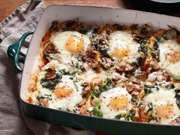 Mushroom-Spinach Baked Eggs: Potato bread adds volume to this breakfast casserole made with Gruyère cheese, white mushrooms and baby spinach.