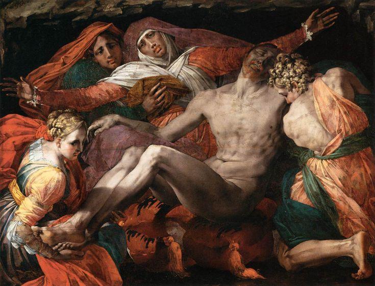 Pietà AutoreRosso Fiorentino Data1537-1540 circa Tecnicaolio su tavola trasferita su tela Dimensioni127 cm × 163 cm  UbicazioneLouvre, Parigi