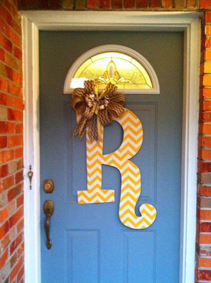 Fabric Decoupaged Wooden Letter Door Hanger My Husband