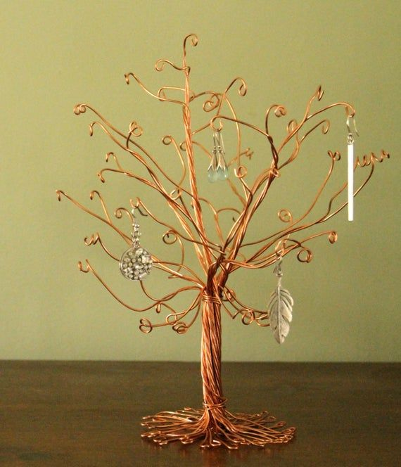 Copper Jewelry Tree Stand Wire Display Earrings Necklace Rings Etsy Jewelry Tree Stand Jewelry Tree Diy Jewelry Tree Display