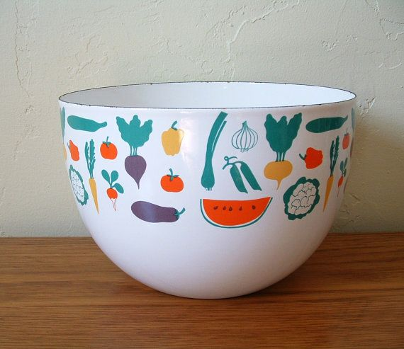 Vintage Arabia Finland Enamel Vegetable Bowl Kaj by TheFrabjousDay, $68.00