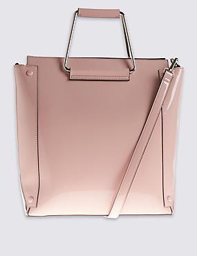 Marks and Spencers Faux Leather Metal Handle Tote Bag