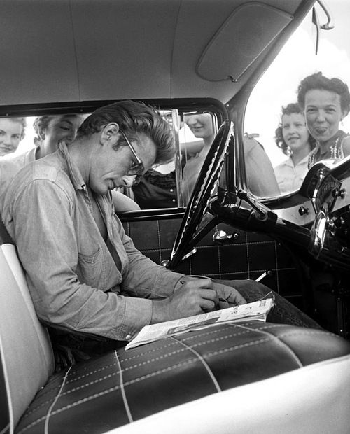 James Dean signing autographs in Texas. Photo by Richard Miller.