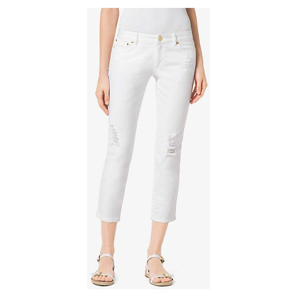 MICHAEL Michael Kors MICHAEL Michael Kors Distressed Cropped Jeans ($49) ❤ liked on Polyvore featuring jeans, white, distressing jeans, white cropped jeans, white destroyed jeans, distressed denim jeans and white ripped jeans
