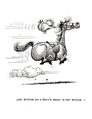 Just sitting on a pony's back is not riding.    -   Thelwell