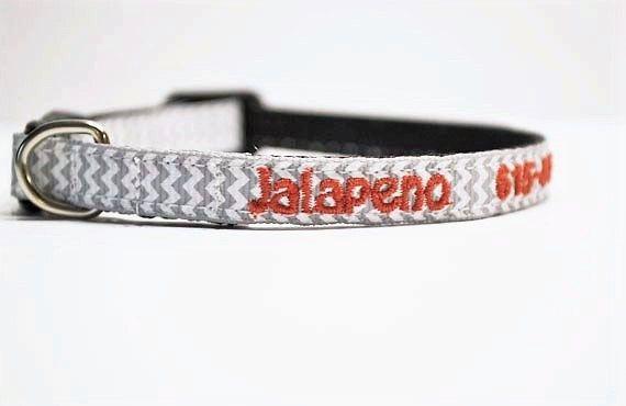 Personalized Cat Collar / Mini Dog Collar / gray chevron /