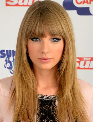Taylor Swift's hair color, blunt bangs and face framing layers