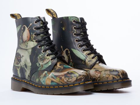 """These wicked Dr. Martens feature """"The Garden of Earthly Delights"""" motif by Dutch painter Hieronymus Bosch. Do want."""