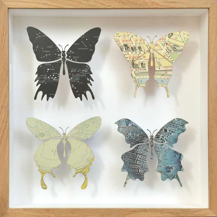 Beautiful butterfly artwork handcrafted using vintage maps
