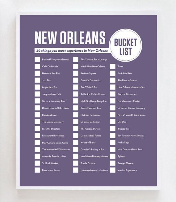 New Orleans Bucket List Wand Kunstdruck von OwlYouNeedIsLoveShop