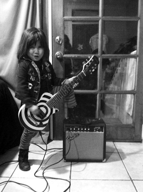 black & white | electric guitar | child rocker | rock n roll | backstage | www.republicofyou.com.au