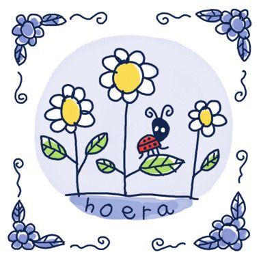 Drie bloemen met daarop een lieveheersbeestje- Greetz