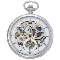 Avalon Stainless Steel 17 Jewel Mechanical Skeleton Pocket Watch with Chain, #8619A