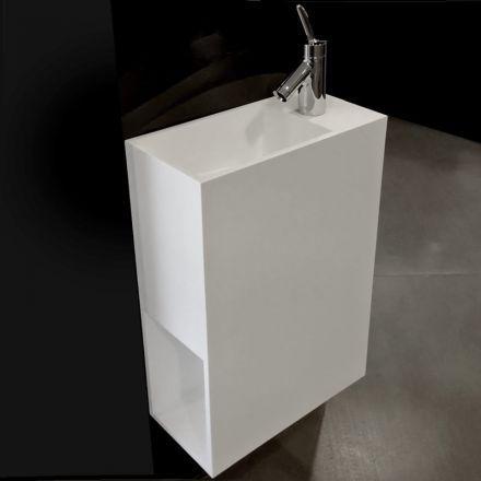 Lave main faible profondeur 40x20 cm, matière composite, Mineral