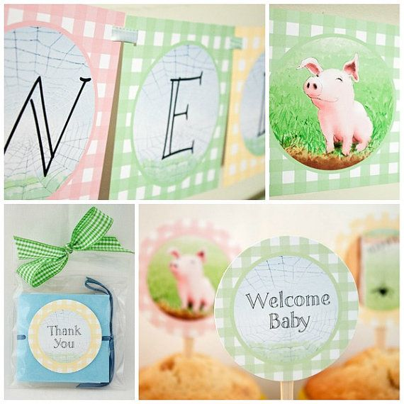 CHARLOTTE'S WEB Inspired Baby Collection : Print At Home Baby Shower Decorations
